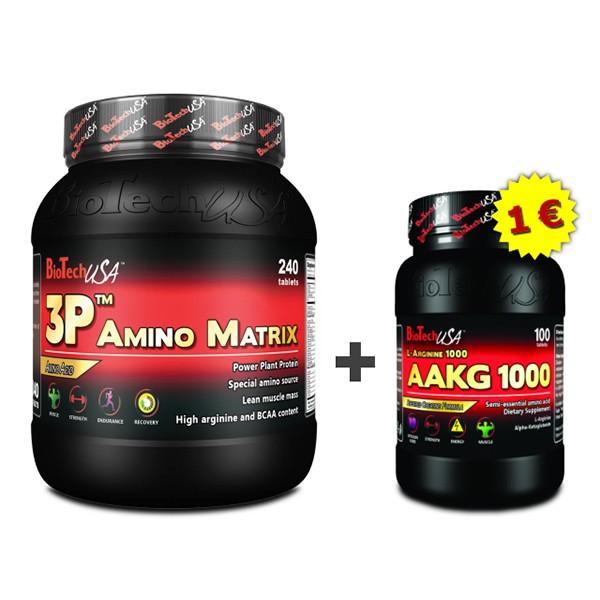 Akciový balíček BioTech USA - 3P Amino Matrix 240 tbl + AAKG 1000 100 tbl