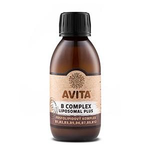 Avita B Complex Liposomal Plus 120ml - výživový doplnok - Vitamíny skupiny B v tekutej lipozomálnej forme. Kladný vplyv vitamínov B ovplyvňuje celkovú činnosť a zdravie pokožky, vlasov, slizníc, nervovej a srdcovo-cievnej sústavy.