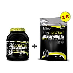 BioTech USA - Creatine Monohydrate 500 g dóza + 500 g sáčok za euro - Akciový balíček