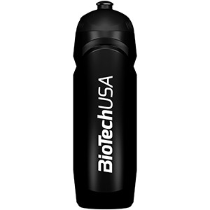Športová fľaša čierna BioTech USA 750ml - nová športová fľaša 750 ml so závitom, gumeným športovým uzáverom a logom BioTech USA.