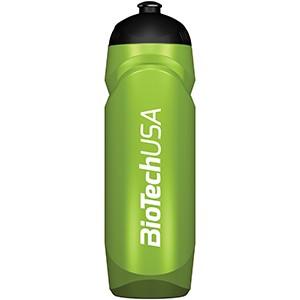 Športová fľaša zelená priesvitná BioTech USA 750ml - nová športová fľaša 750 ml so závitom, gumeným športovým uzáverom a logom BioTech USA.