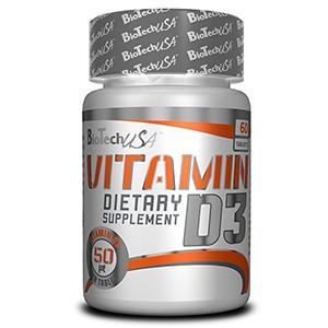 BioTech USA - Vitamin D3 60tbl - prispieva k udržaniu zdravých kosti a zubov
