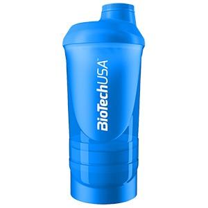 Shaker Wave+ BioTech USA modrý 600ml - nový trojdielny šejker, s priečinkom na tablety a práškové doplnky výživy.