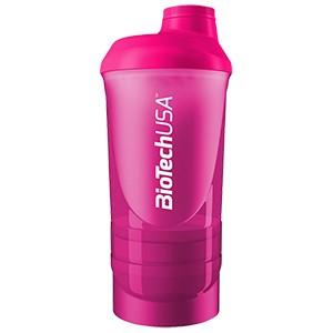 Shaker Wave+ BioTech USA cyklámenový 600ml - nový trojdielny šejker, s priečinkom na tablety a práškové doplnky výživy.