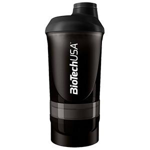 Shaker Wave+ BioTech USA dymový priesvitný 600ml - nový trojdielny šejker, s priečinkom na tablety a práškové doplnky výživy.