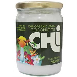 CHi 100% RAW Organický panenský kokosový olej 500ml - CHi 100% organický RAW panenský BIO kokosový olej, za studena lisovaný s úžasnou chuťou, vôňou a vlastnosťami. Vhodný aj pre vegánov a vegetariánov. Bezlepkový, bezlaktózový a kóšer produkt.