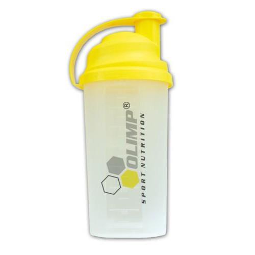 Shaker Olimp priesvitný 700ml - klasický priesvitný šejker 700ml na závit so sitkom vo vnútri, ktoré pomáha dokonale rozmiešať nápoje, najmä proteinové či sacharidové.