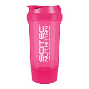 Shaker Traveller Scitec Nutrition ružový priesvitný 500ml - vysokokvalitný šejker Scitec Traveller 500ml s mriežkou a oddeleným priečinkom na kapsuly, tablety či prášok, v ktorom sa perfektne rozmieša každý proteínový či sacharidový nápoj.
