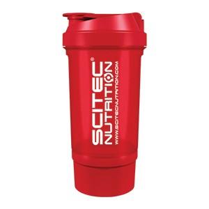 Shaker Traveller Scitec Nutrition červený priesvitný 500ml - vysokokvalitný šejker Scitec Traveller 500ml s mriežkou a oddeleným priečinkom na kapsuly, tablety či prášok, v ktorom sa perfektne rozmieša každý proteínový či sacharidový nápoj.