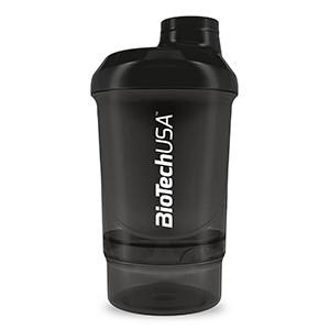 Shaker Nano dvojdielny BioTech USA dymový 300 ml - Špeciálny Nano šejker s mriežkou, v ktorom sa perfektne rozmieša každý proteínový či sacharidový nápoj. Obsahuje aj spodnú nádobku 150 ml - slúži ako zásobník na doplnky výživy.