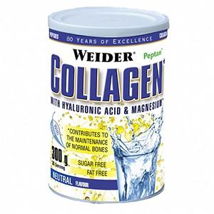 Weider - Collagen 300g - Weider Collagen je ideálna starostlivosť o vaše kĺby. Tento doplnok výživy obsahuje kolagén peptidov s vysokou biologickou hodnotou, čím prispieva k zdraviu kostí a chrupaviek. Obsahuje tiež kyselinu hyalurónovu, horčík a vitamín