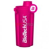 Shaker BioTech USA cyklámenový priesvitný 700ml - profesionálny šejker 700ml na závit s kónickým sitkom vo vnútri, ktoré pomáha dokonale rozmiešať nápoje, najmä proteinové či sacharidové.