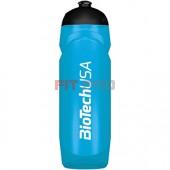 Športová fľaša azúrová modrá priesvitná BioTech USA 750ml - nová športová fľaša 750 ml so závitom, gumeným športovým uzáverom a logom BioTech USA.