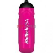 Športová fľaša cyklámenová priesvitná BioTech USA 750ml - nová športová fľaša 750 ml so závitom, gumeným športovým uzáverom a logom BioTech USA.