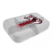 Krabička na dávkovanie tabliet Scitec Nutrition Beef biela priesvitná - priehľadná krabička na dávkovanie tabliet (pill box) s piatimi priehradkami na tablety alebo kapsuly s logom Beef Scitec Nutrition.