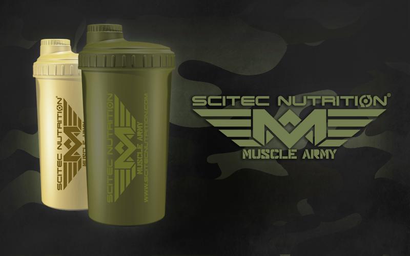 Shaker Scitec Nutrition Muscle Army Woodland zelený / Desert pieskový 700ml