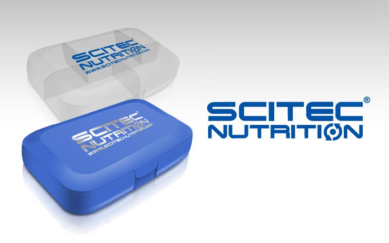 Krabička na dávkovanie tabliet (pill box) Scitec Nutrition biela priesvitná / modrá