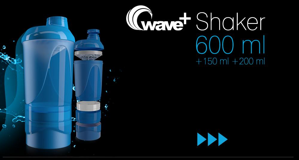 Wave+ je nový trojdielny 600 ml šejker (s mierkou do 500 ml), s priečinkom na tablety a kapsuly (150 ml) a zásobníkom na práškové doplnky výživy (200 ml). Spodná časť slúži na prášok, stredná na tablety a kapsuly, vrchná na prípravu nápoja.